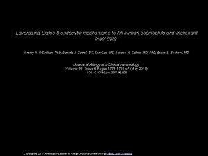 Leveraging Siglec8 endocytic mechanisms to kill human eosinophils