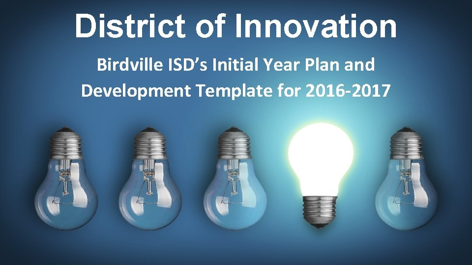 District of Innovation Birdville ISDs Initial Year Plan