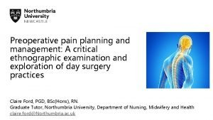 Preoperative pain planning and management A critical ethnographic