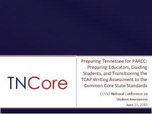 Preparing Tennessee for PARCC Preparing Educators Guiding Students