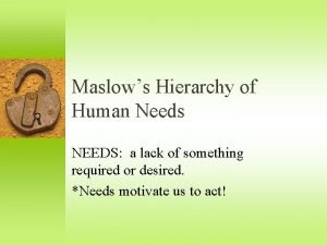 Maslows Hierarchy of Human Needs NEEDS a lack