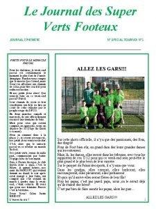 Le Journal des Super Verts Footeux JOURNAL EPHEMERE