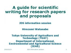A guide for scientific writing for research papers