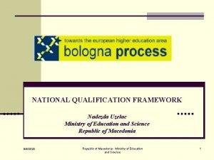 NATIONAL QUALIFICATION FRAMEWORK Nadezda Uzelac Ministry of Education