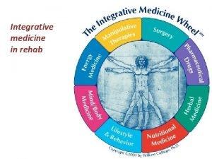 Integrative medicine in rehab Complementary and alternative medicine
