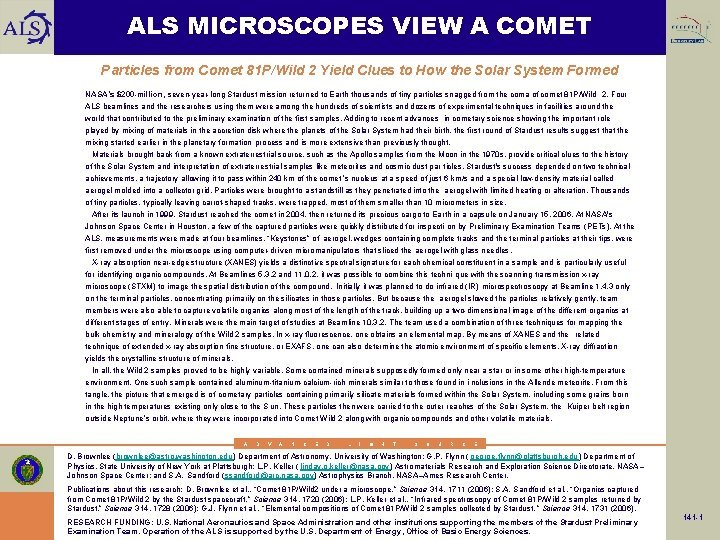 ALS MICROSCOPES VIEW A COMET Particles from Comet