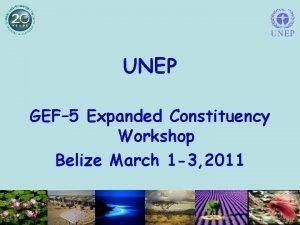 UNEP GEF 5 Expanded Constituency Workshop Belize March