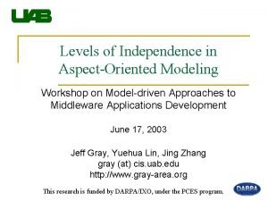Levels of Independence in AspectOriented Modeling Workshop on