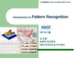 For Pattern Recognition Winter School Introduction to Pattern