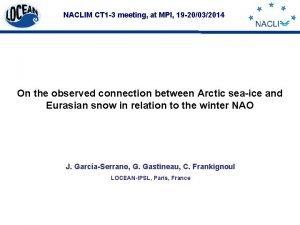 NACLIM CT 1 3 meeting at MPI 19