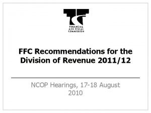 FFC Recommendations for the Division of Revenue 201112