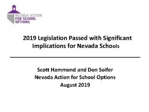 2019 Legislation Passed with Significant Implications for Nevada