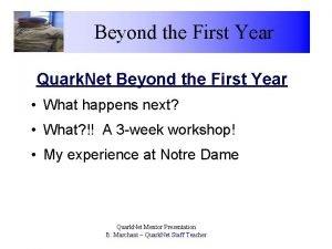 Beyond the First Year Quark Net Beyond the