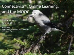 Connectivism Online Learning and the MOOC Stephen Downes