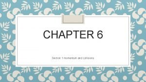 CHAPTER 6 Section 1 momentum and collisions Momentum
