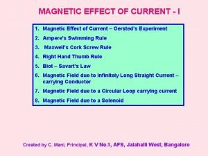 MAGNETIC EFFECT OF CURRENT I 1 Magnetic Effect