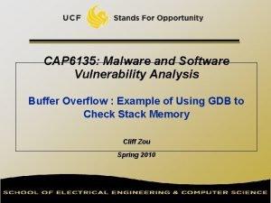 CAP 6135 Malware and Software Vulnerability Analysis Buffer