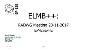ELMB RADWG Meeting 20 11 2017 EPESEFE Kamil