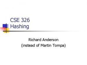 CSE 326 Hashing Richard Anderson instead of Martin