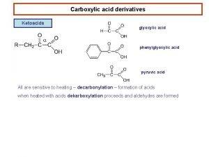 Carboxylic acid derivatives Ketoacids glyoxylic acid phenylglyoxylic acid