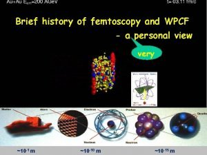 Brief history of femtoscopy and WPCF a personal