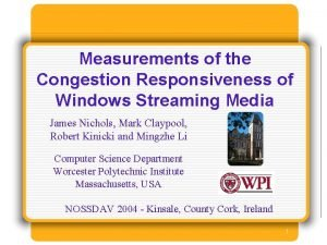Measurements of the Congestion Responsiveness of Windows Streaming