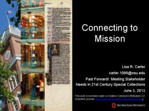 Connecting to Mission Lisa R Carter carter 1088osu
