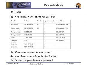 Parts and materials 1 Parts 2 Preliminary definition