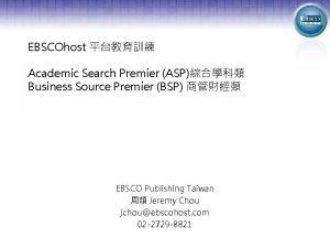 EBSCOhost Academic Search Premier ASP Business Source Premier
