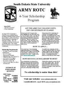 South Dakota State University ARMY ROTC 4 Year