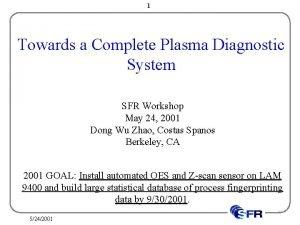 1 Towards a Complete Plasma Diagnostic System SFR