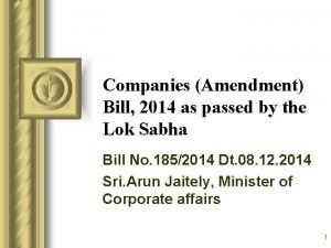 Companies Amendment Bill 2014 as passed by the