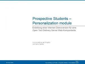 Prospective Students Personalization module Erstellung einer internen Demoversion