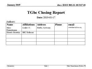 January 2019 doc IEEE 802 11 182127 r