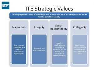 ITE Strategic Values To bring together a body