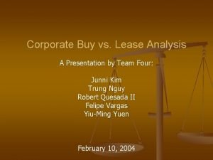 Corporate Buy vs Lease Analysis A Presentation by