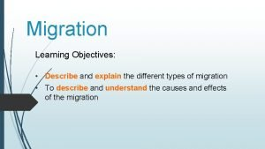 Migration Learning Objectives Describe and explain the different
