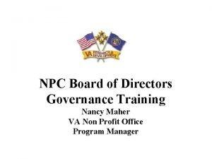 NPC Board of Directors Governance Training Nancy Maher