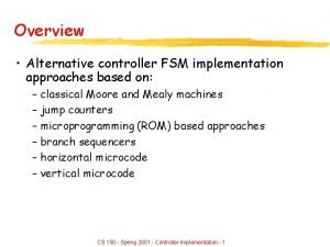 Overview Alternative controller FSM implementation approaches based on