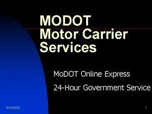MODOT Motor Carrier Services Mo DOT Online Express