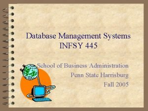 Database Management Systems INFSY 445 School of Business