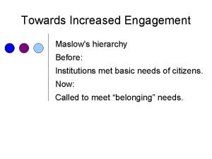 Towards Increased Engagement Maslows hierarchy Before Institutions met