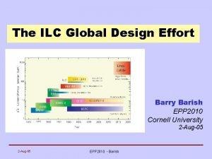 The ILC Global Design Effort Barry Barish EPP