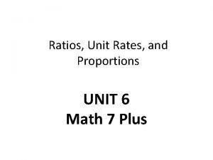 Ratios Unit Rates and Proportions UNIT 6 Math
