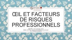IL ET FACTEURS DE RISQUES PROFESSIONNELS SMTMP 16