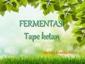 FERMENTASI Tape ketan by Fina Pradika Putri PENGERTIAN
