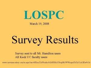 LOSPC March 19 2008 Survey Results Survey sent