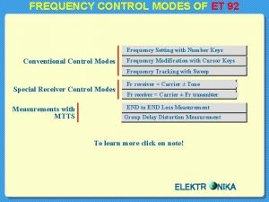 FREQUENCY CONTROL MODES OF ET 92 Frequency Setting