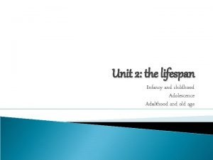 Unit 2 the lifespan Infancy and childhood Adolescence