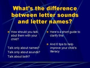 Whats the difference between letter sounds and letter